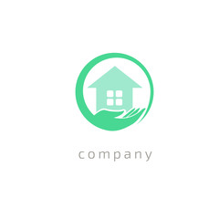 Abstract real estate agent logo icon vector design. Rent, sale of real estate vector logo, House cleaning, home security.