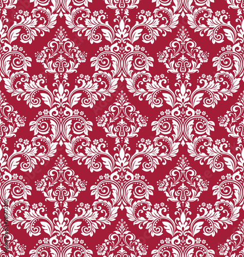 """Red And White Patterned Wallpaper: """"Floral Pattern. Vintage Wallpaper In The Baroque Style"""