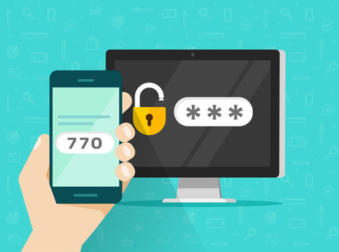2fa password login code verification, two step authentication on smartphone vector illustration, flat  cellphone and computer safety login or signin, two steps verification via mobile phone and pc