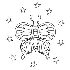 Hand drawn butterflies With stars for the anti stress coloring page. Design elements label, emblem, poster, t-shirt. Vector illustration