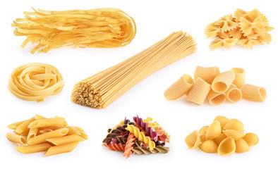 Raw Italian pasta fettuccine, paccheri, farfalle, spaghetti, fusilli, penne, tagliatelle, conchiglie isolated on a white background.