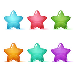 Set six color star icon. Vector eps 10
