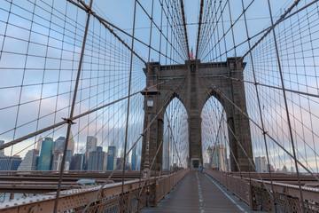 The Brooklyn Bridge with New York skyline