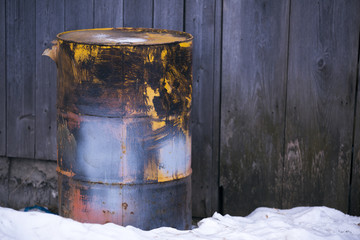 old barrel with fuel, a vintage barrel of petrol