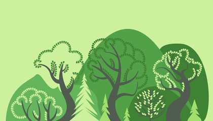 World Environment Day. Earth Day. Day of the forest. Ecological background. Deciduous and coniferous trees, hills and bushes. Vector illustration.