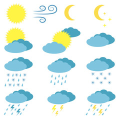 Weather vector icons set. Sun, cloudy, rainy, storm, wind icons