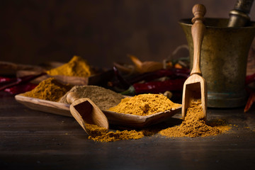 Various Indian spices with wooden spoons on a wooden table.