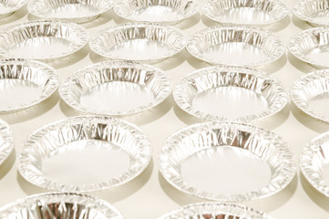 Round aluminium foil food isolated