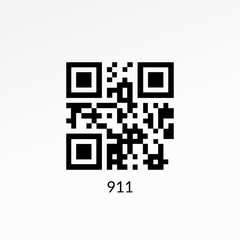911 QR code sign. Emergency barcode icon illustration