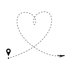 Love is in the air concept. Plane and heart shaped path