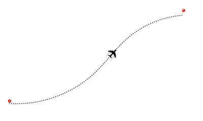 Travel by plane concept. Aerial rounte and plane icon