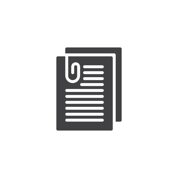 Attached document paper vector icon. filled flat sign for mobile concept and web design. Report simple solid icon. Symbol, logo illustration. Pixel perfect vector graphics
