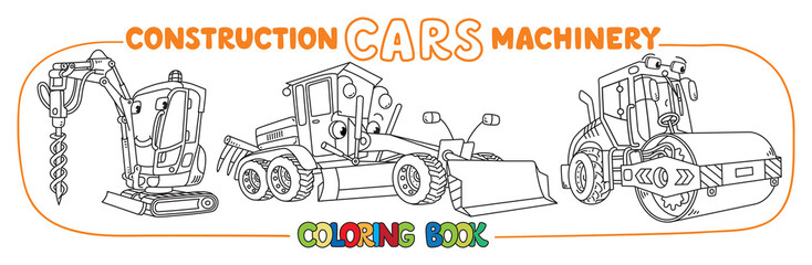 Funny constuction cars set. Coloring book
