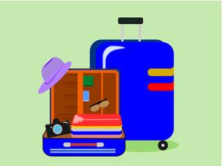 travel bag set for traveler .Illustration vector.
