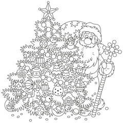 Santa Claus with his gift bag and a magical staff looking out from behind a decorated Christmas tree, black and white vector illustration in a cartoon style for a coloring book