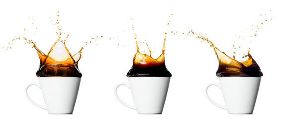 set of cup of splashing coffee isolated on white background