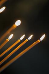 church candles. Burning candles