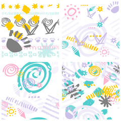 Set hand drawn scribbles seamless pattern