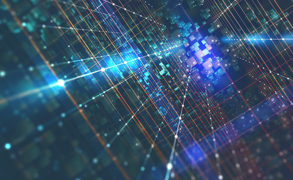 Abstract tech background 3D illustration. Quantum computer architecture. Futuristic technologies in global communication network
