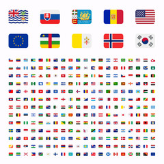 All countries world rounded rounded flat design flags, symbols, emoticons, icons. Emoji flag buttons, screen, display, website flag collection, set, stickers.