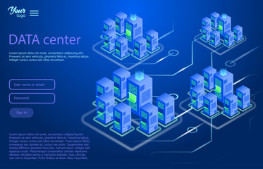 Data center design concept. Isometric vector illustration in ultraviolet colors. Cloud and data storage services.