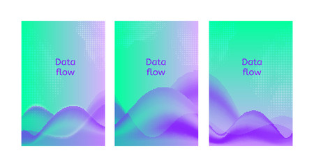Data flow posters. Set of abstract backgrounds. Vector illustrations in ultraviolet colors.