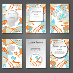 Minimal vector covers set. Artistic paint pattern