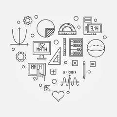 Math heart creative vector illustration in line style