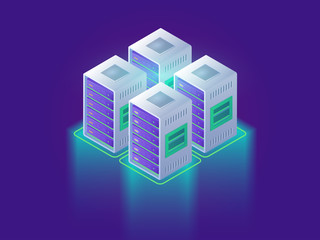 Data center and cloud computing concept. Web page design for website. Technology cloud 3d isometric vector illustration