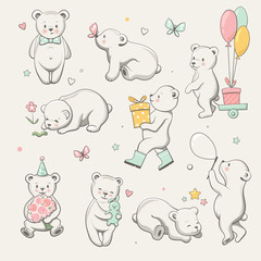 Cute little bear collection. Perfect for baby shower celebration greeting card, stickers, invitation, t-shirt print, fashion design, kids wear. Cartoon hand drawn style, vector illustration.