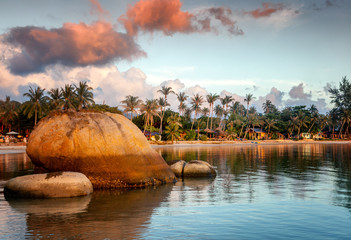 Fototapete - Bright colorful stunning sunset on a tropical beach on a paradise island, summer vacation and travel