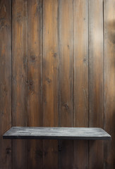 wooden shelf at plank background texture