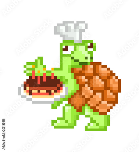 Baker turtle in a chef hat presenting chocolate birthday cake cute