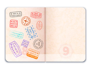 Realistic open foreign passport with immigration stamps on one of pages on white