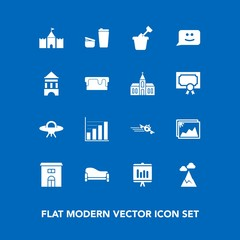 Modern, simple vector icon set on blue background with spaceship, mountain, landscape, flight, room, blue, data, cup, building, document, house, business, interior, space, real, sugar, report icons