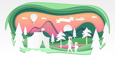 Funfair - vector paper cut illustration