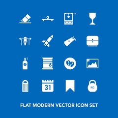 Modern, simple vector icon set on blue background with kilogram, food, curtain, bucket, eraser, day, photo, sign, window, picture, water, timetable, education, time, schedule, interior, well icons