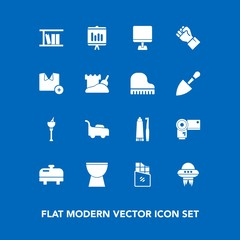 Modern, simple vector icon set on blue background with pc, bucket, sweet, computer, heater, technology, water, ice, document, report, toothpaste, spacecraft, music, chocolate, photography, mower icons