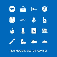 Modern, simple vector icon set on blue background with technology, nature, lamp, jacket, sweet, service, transport, heart, cake, restaurant, van, chief, flashlight, tool, camera, pie, broken, no icons