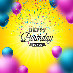 Happy Birthday Vector Design with Balloon, Typography and Falling Confetti on Shiny Yellow Background. Illustration for birthday celebration. greeting cards or party poster.