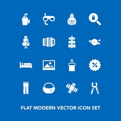 Modern, simple vector icon set on blue background with planet, space, price, tool, clothing, travel, repair, woman, rucksack, mask, fashion, hotel, fly, pants, lady, sale, sport, hot, object icons
