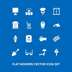 Modern, simple vector icon set on blue background with mark, exclamation, photographer, shovel, photography, eyeglasses, eye, sign, summer, home, equipment, camera, modern, window, danger, tool icons