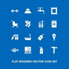 Modern, simple vector icon set on blue background with trumpet, bathroom, construction, border, tag, office, file, volcano, photo, note, child, carriage, lava, spring, musical, abstract, baby icons
