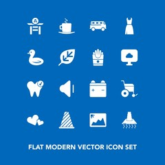 Modern, simple vector icon set on blue background with volume, image, music, japan, coffee, up, bus, traffic, speed, cappuccino, hood, frame, drum, full, transportation, dentist, wheelchair, cup icons