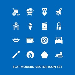 Modern, simple vector icon set on blue background with circus, machinery, equipment, teeth, grill, sweet, sign, cooking, industry, character, bulldozer, girl, wheelchair, japan, holiday, car icons