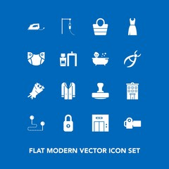 Modern, simple vector icon set on blue background with position, travel, work, dress, outfit, building, security, fashion, beautiful, photography, electric, leather, jacket, bouquet, estate, bag icons