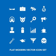 Modern, simple vector icon set on blue background with monster, drink, coffee, cappuccino, air, business, saturn, pepper, photo, ufo, spice, equipment, orbit, photography, food, astronomy, cup icons