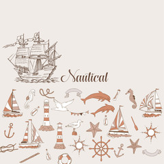 Nautical background with sailing vessels