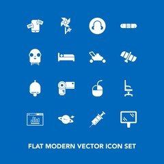 Modern, simple vector icon set on blue background with armchair, camera, medical, dentist, alarm, home, sign, chat, computer, astronomy, internet, photo, medicine, floral, chair, photography icons