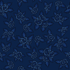 Colorful seamless pattern. Hand drawn navy-blue roses on dark-blue background
